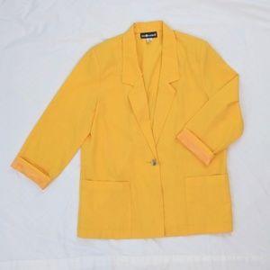 Vintage Yellow 80's 90's Large Pocket Blazer